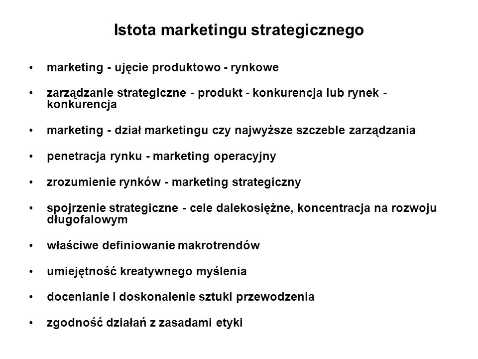 Istota marketingu strategicznego