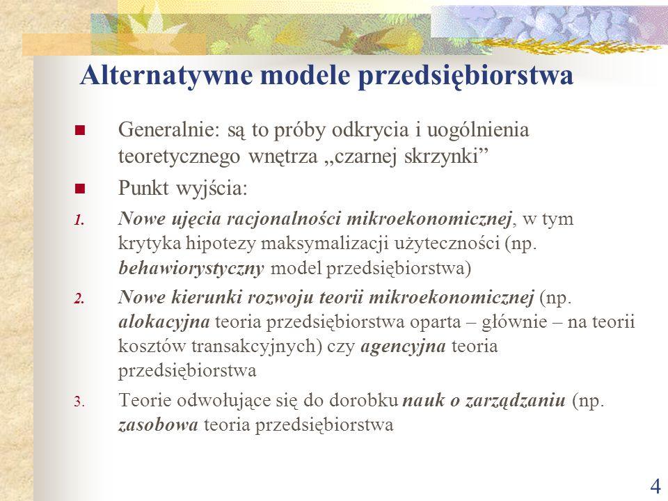 Alternatywne modele przedsiębiorstwa