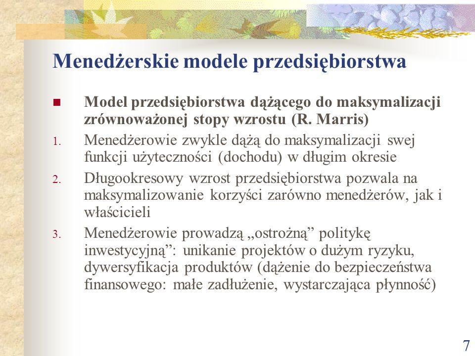 Menedżerskie modele przedsiębiorstwa