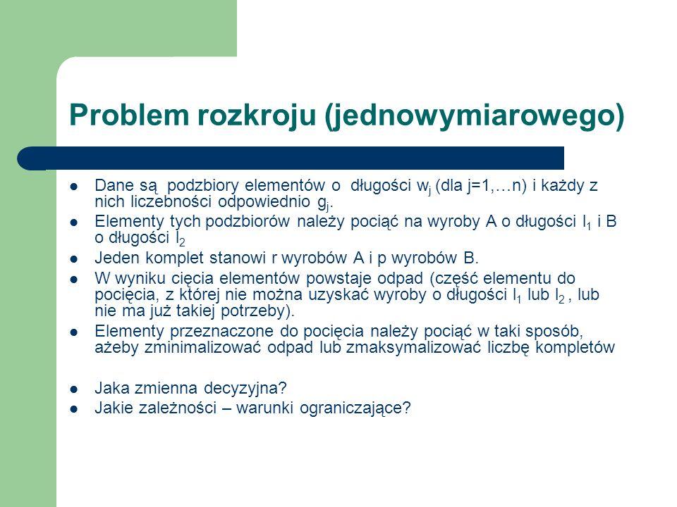 Problem rozkroju (jednowymiarowego)