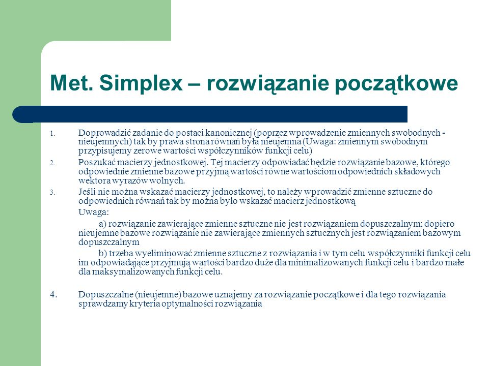 Met. Simplex – rozwiązanie początkowe