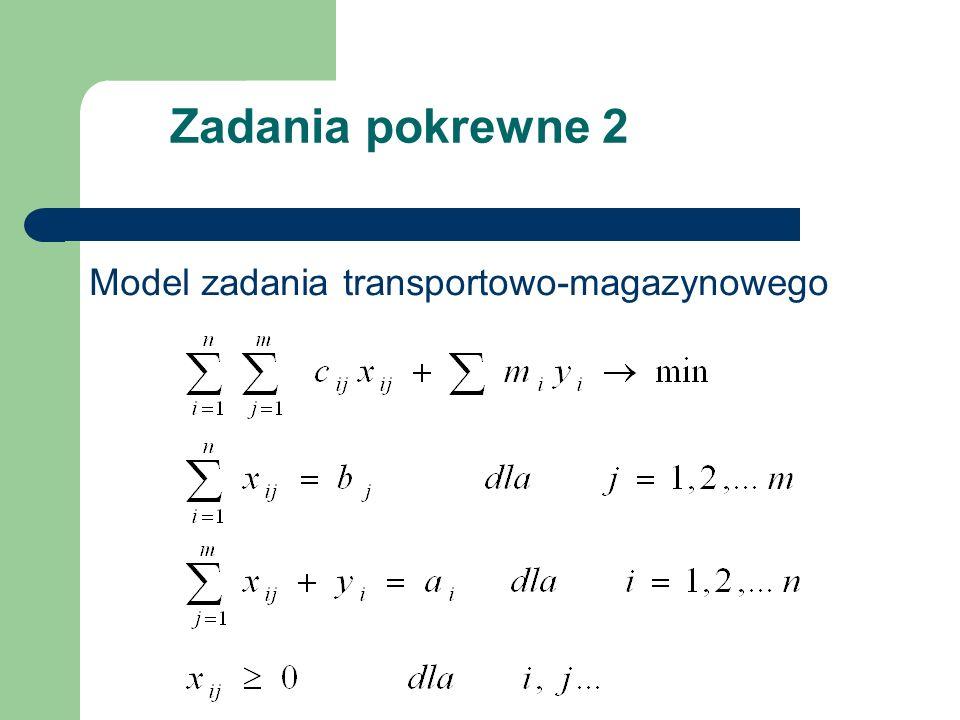 Zadania pokrewne 2 Model zadania transportowo-magazynowego