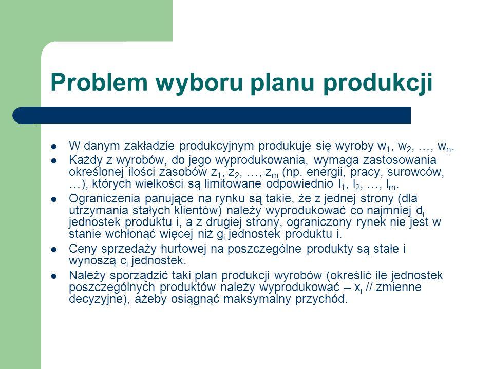 Problem wyboru planu produkcji