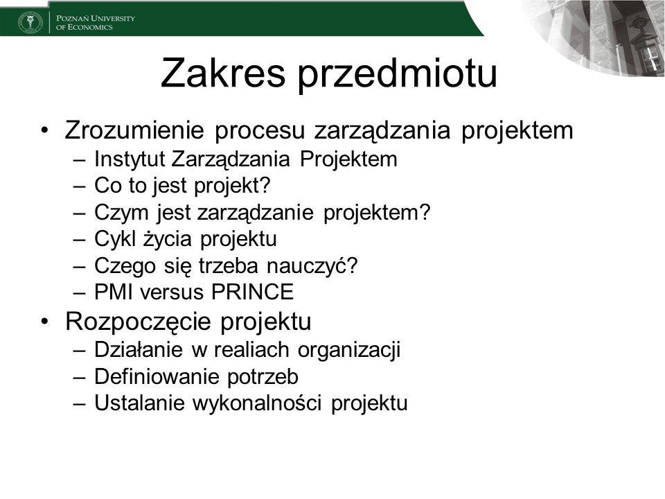 Zakres przedmiotu Zrozumienie procesu zarządzania projektem