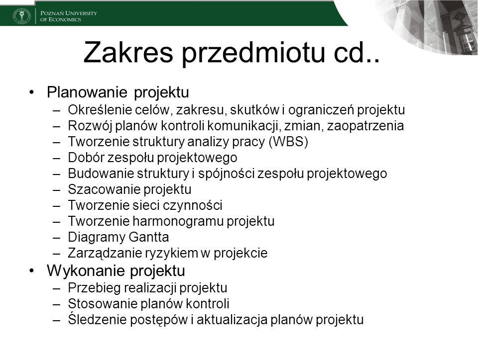 Zakres przedmiotu cd.. Planowanie projektu Wykonanie projektu
