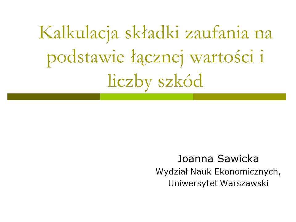 Joanna Sawicka Wydział Nauk Ekonomicznych, Uniwersytet Warszawski