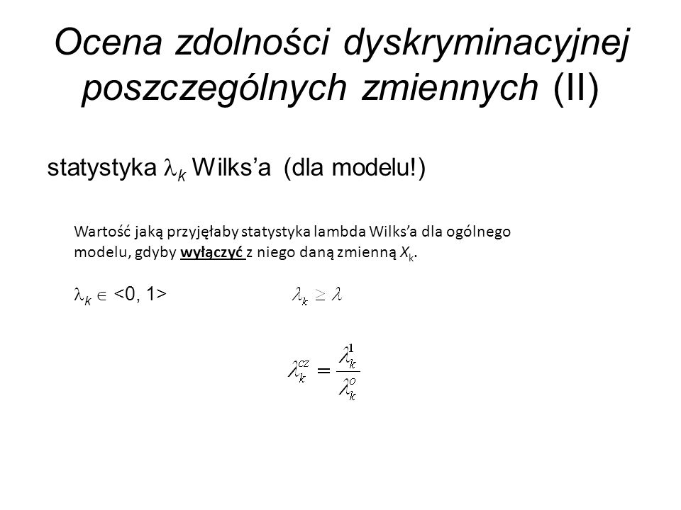 Ocena zdolności dyskryminacyjnej poszczególnych zmiennych (II)