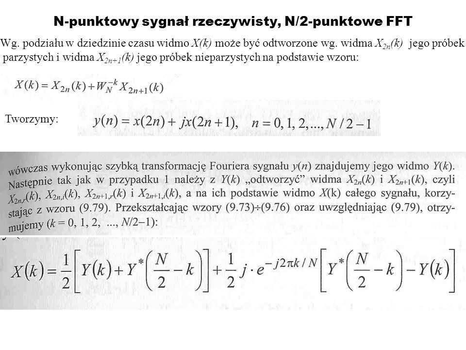 N-punktowy sygnał rzeczywisty, N/2-punktowe FFT