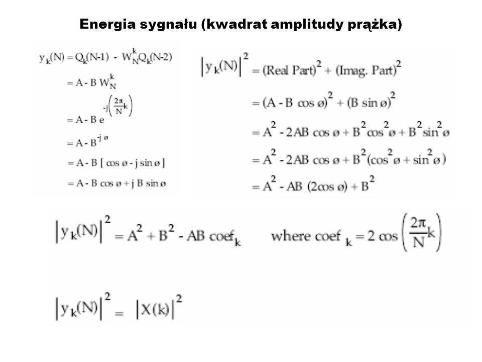 Energia sygnału (kwadrat amplitudy prążka)