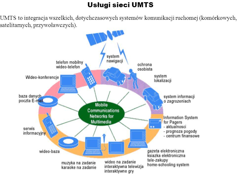 Usługi sieci UMTSUMTS to integracja wszelkich, dotychczasowych systemów komunikacji ruchomej (komórkowych,