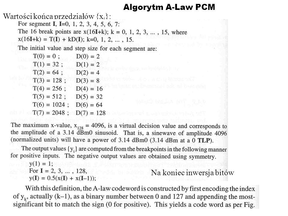 Algorytm A-Law PCM Wartości końca przedziałów {xi}: Na koniec inwersja bitów