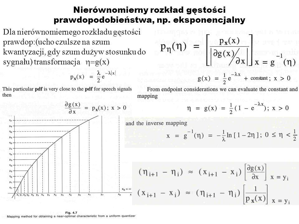 Nierównomierny rozkład gęstości prawdopodobieństwa, np. eksponencjalny