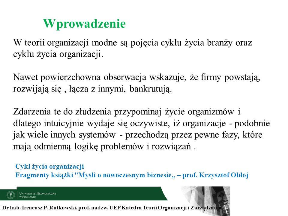 Wprowadzenie W teorii organizacji modne są pojęcia cyklu życia branży oraz cyklu życia organizacji.