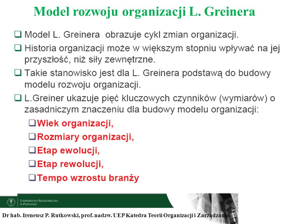 Model rozwoju organizacji L. Greinera