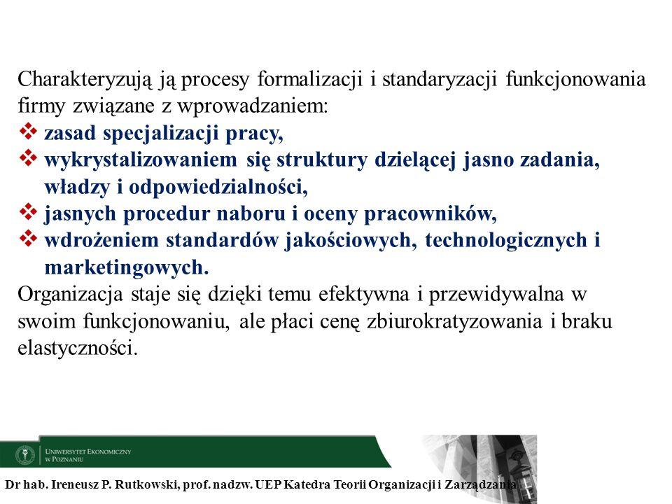Charakteryzują ją procesy formalizacji i standaryzacji funkcjonowania