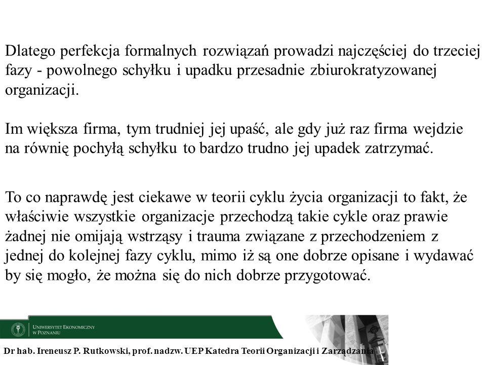 Dlatego perfekcja formalnych rozwiązań prowadzi najczęściej do trzeciej fazy - powolnego schyłku i upadku przesadnie zbiurokratyzowanej organizacji.