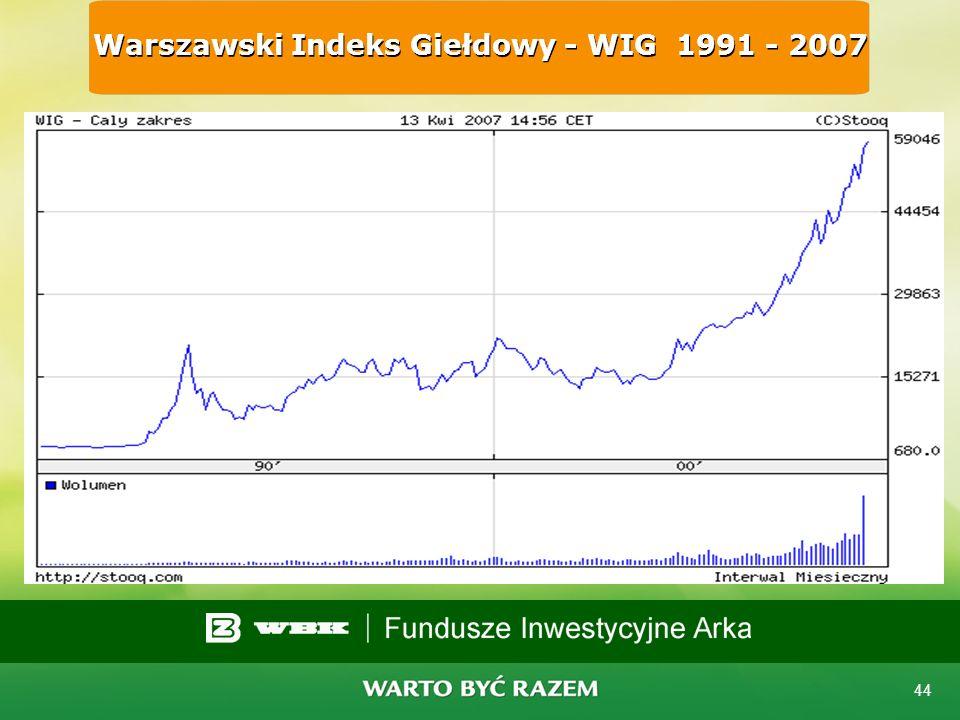 Warszawski Indeks Giełdowy - WIG 1991 - 2007