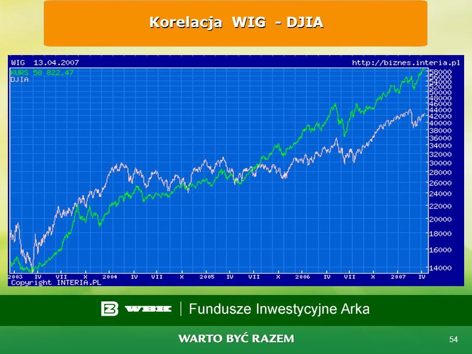 Korelacja WIG - DJIA