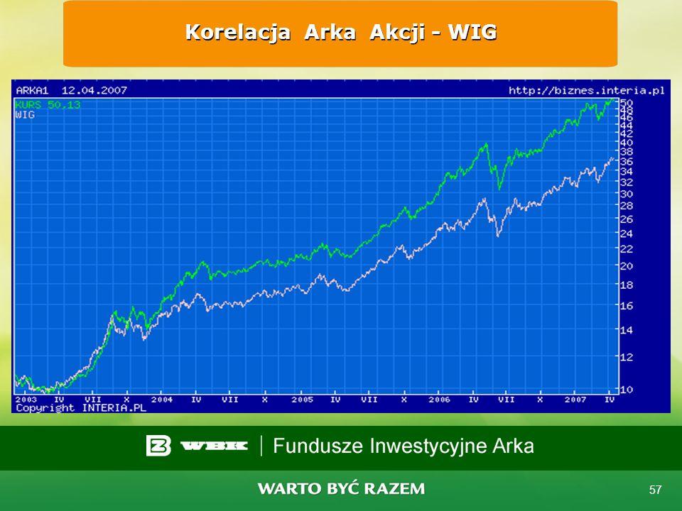 Korelacja Arka Akcji - WIG