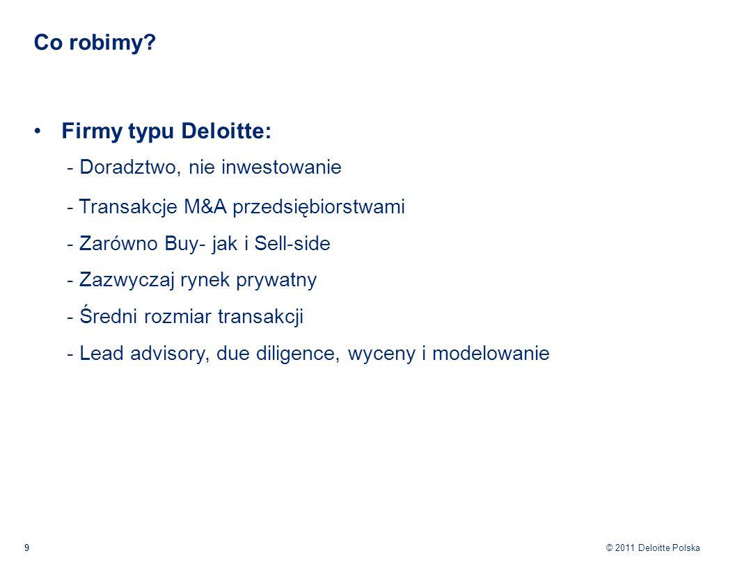 Co robimy Firmy typu Deloitte: - Doradztwo, nie inwestowanie