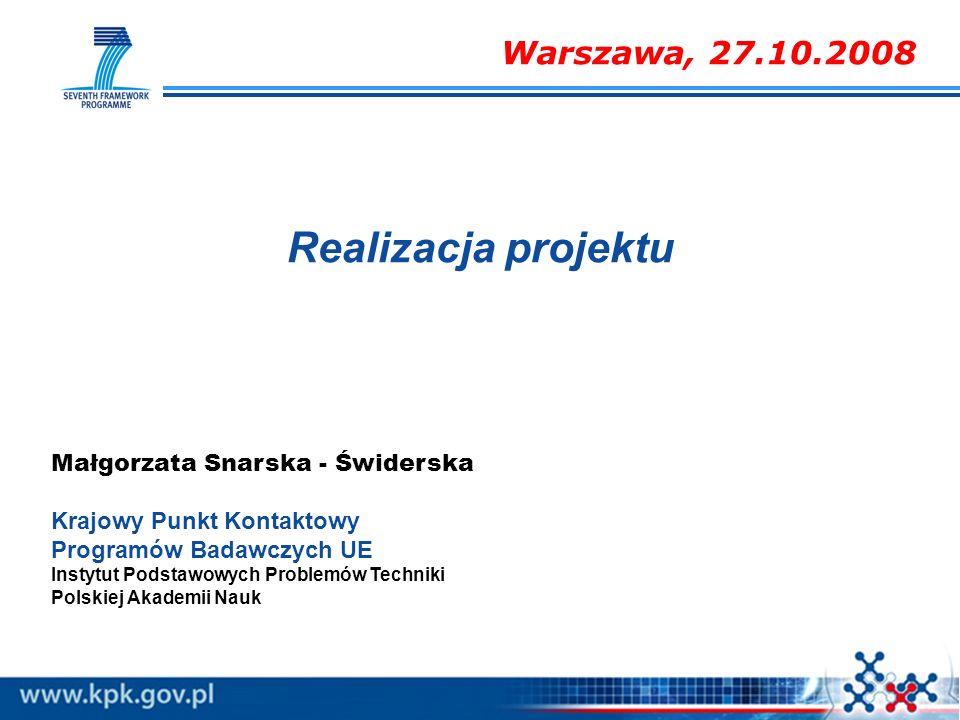 Realizacja projektu Warszawa, 27.10.2008