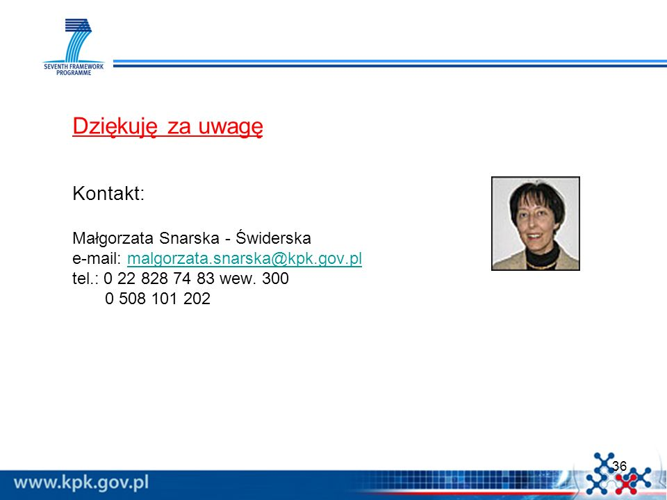 Dziękuję za uwagę Kontakt: Małgorzata Snarska - Świderska