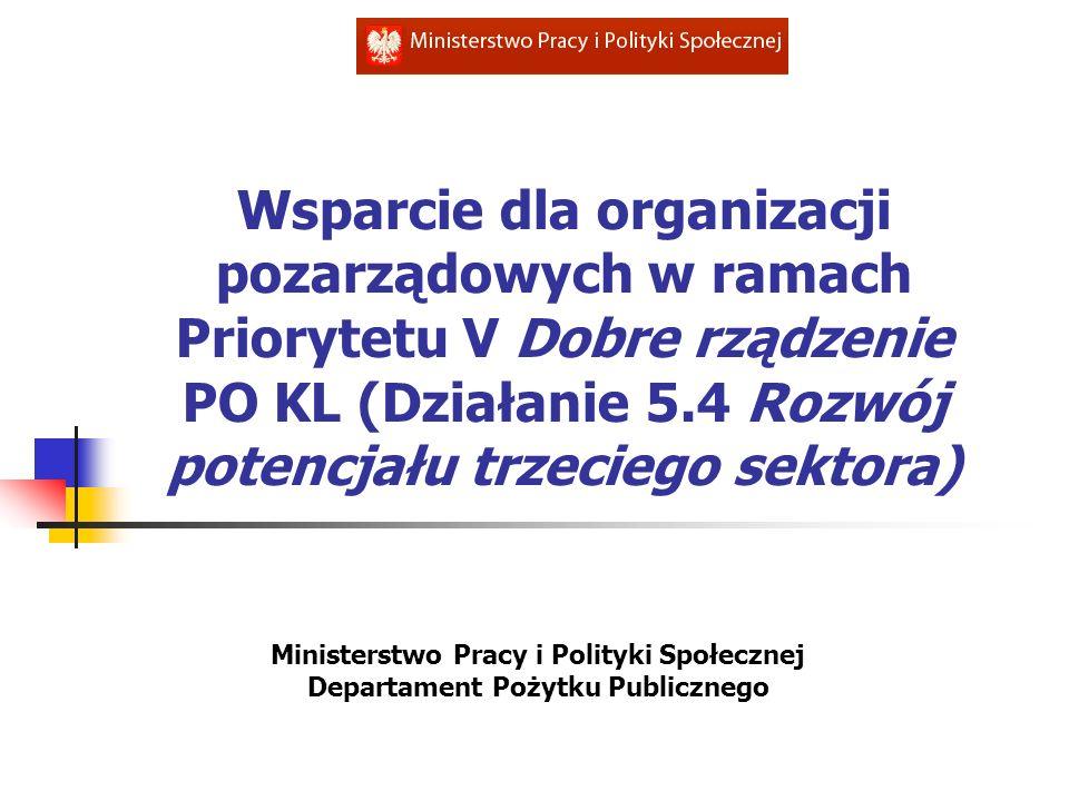 Wsparcie dla organizacji pozarządowych w ramach Priorytetu V Dobre rządzenie PO KL (Działanie 5.4 Rozwój potencjału trzeciego sektora)
