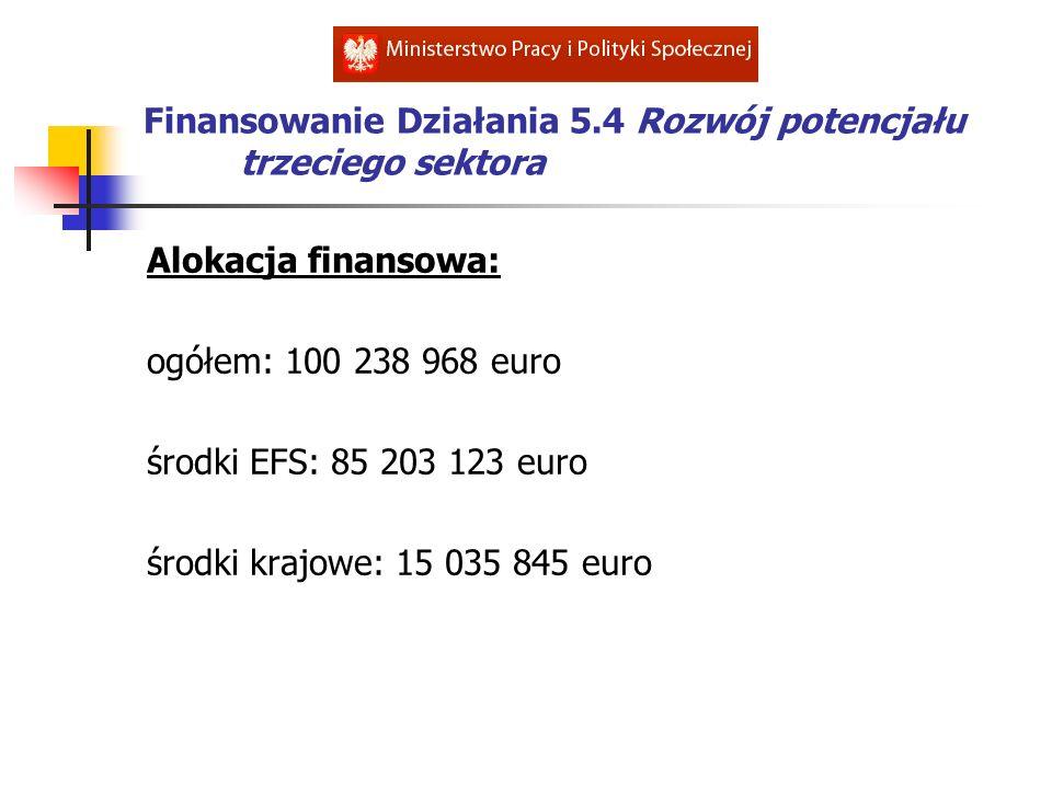 Finansowanie Działania 5.4 Rozwój potencjału trzeciego sektora
