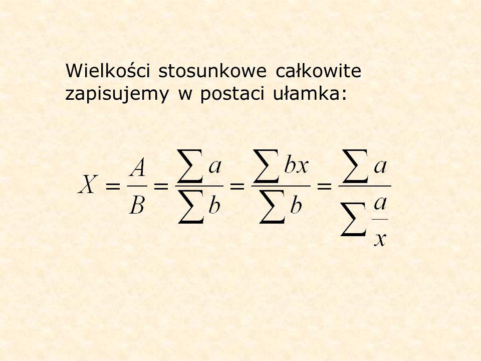 Wielkości stosunkowe całkowite zapisujemy w postaci ułamka: