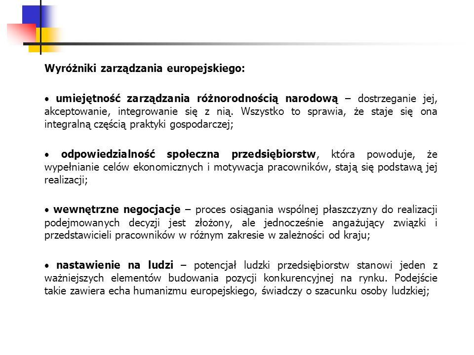 Wyróżniki zarządzania europejskiego: