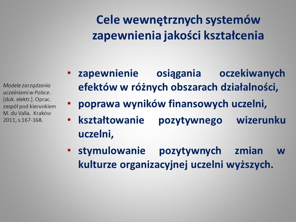 Cele wewnętrznych systemów zapewnienia jakości kształcenia