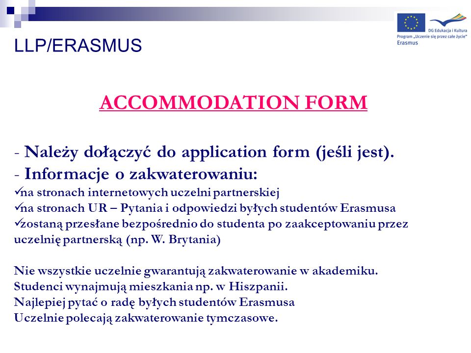 ACCOMMODATION FORM LLP/ERASMUS