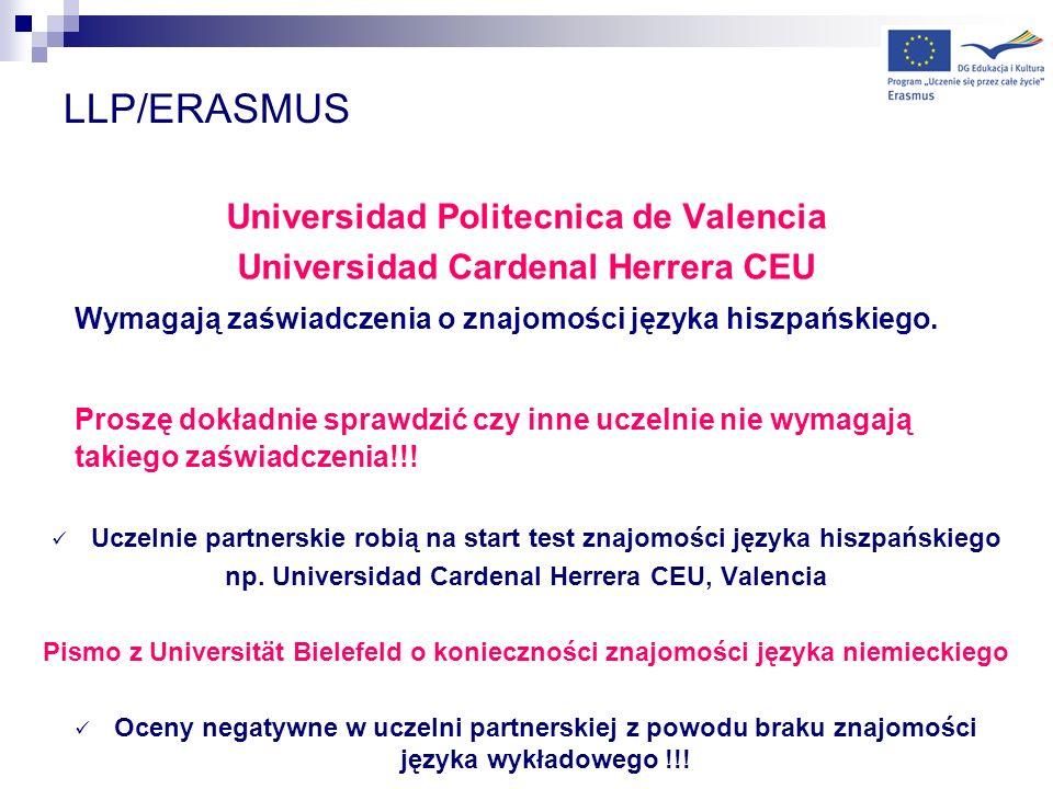 LLP/ERASMUS Universidad Politecnica de Valencia
