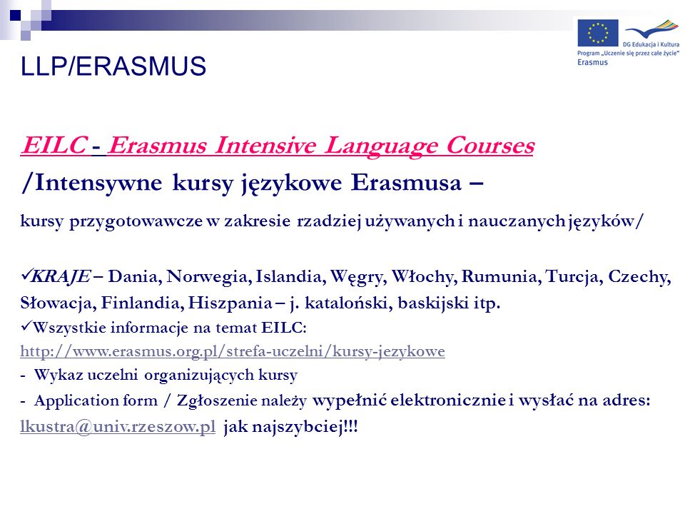 EILC - Erasmus Intensive Language Courses