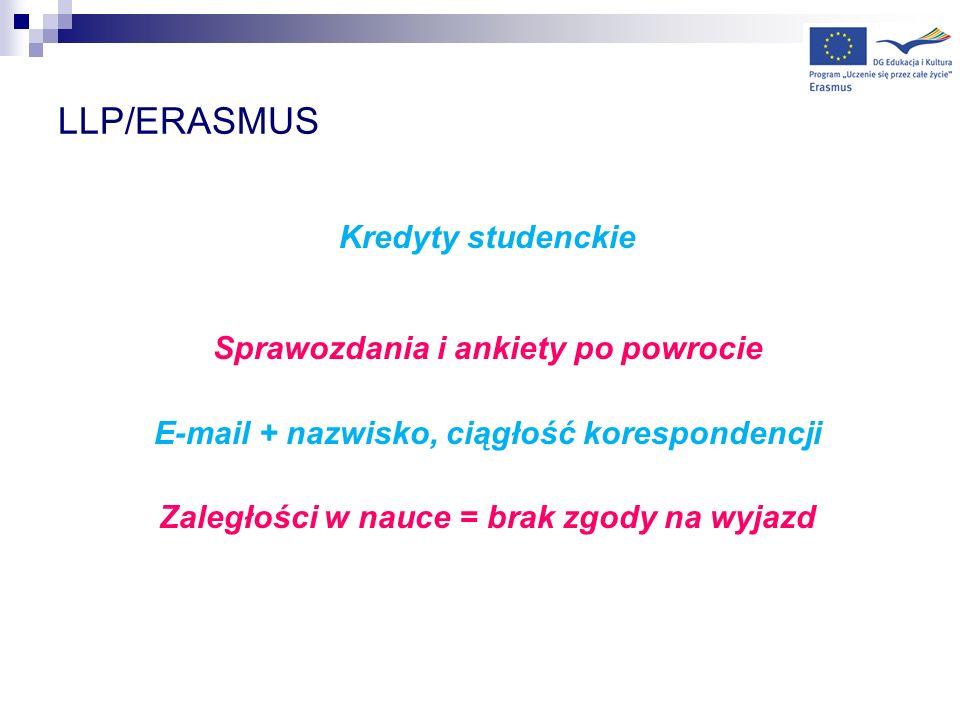 LLP/ERASMUS Kredyty studenckie Sprawozdania i ankiety po powrocie