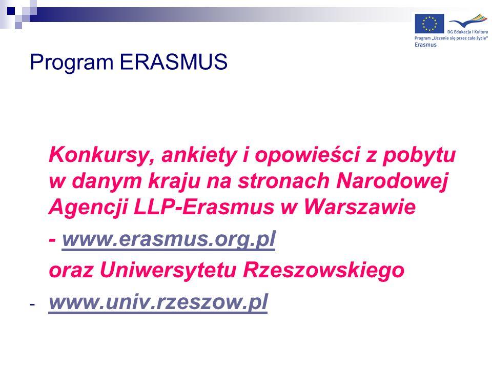 Program ERASMUS Konkursy, ankiety i opowieści z pobytu w danym kraju na stronach Narodowej Agencji LLP-Erasmus w Warszawie.