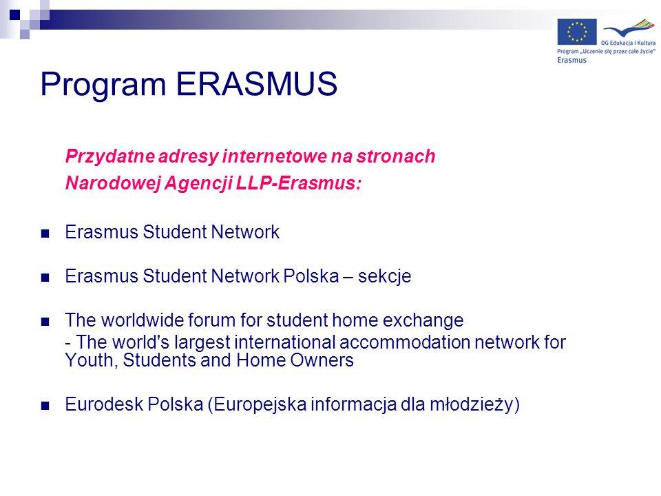 Program ERASMUS Przydatne adresy internetowe na stronach