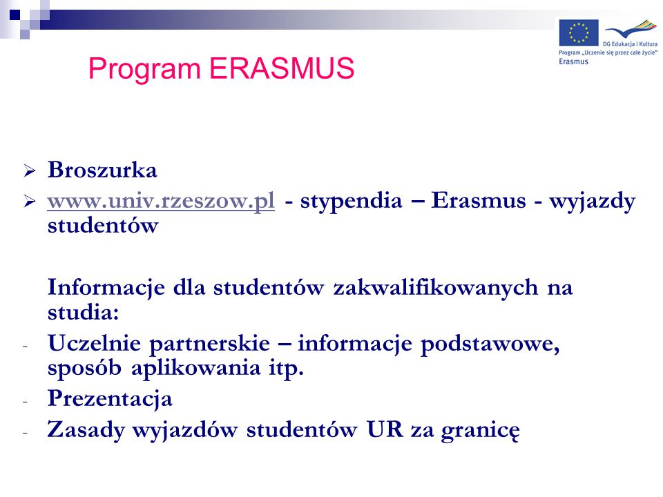 Program ERASMUS Broszurka