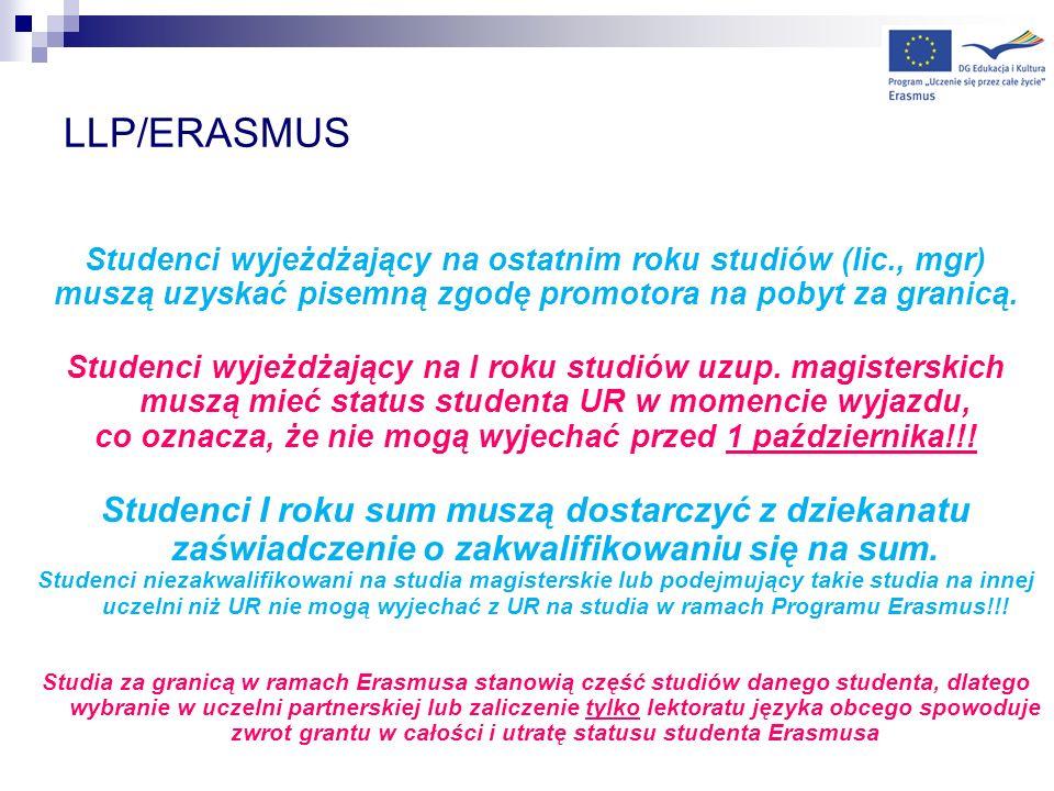 LLP/ERASMUS Studenci wyjeżdżający na ostatnim roku studiów (lic., mgr) muszą uzyskać pisemną zgodę promotora na pobyt za granicą.