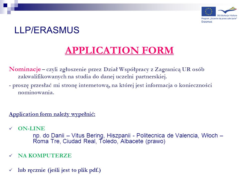 APPLICATION FORM LLP/ERASMUS