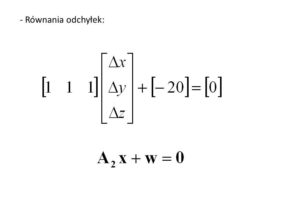 - Równania odchyłek: