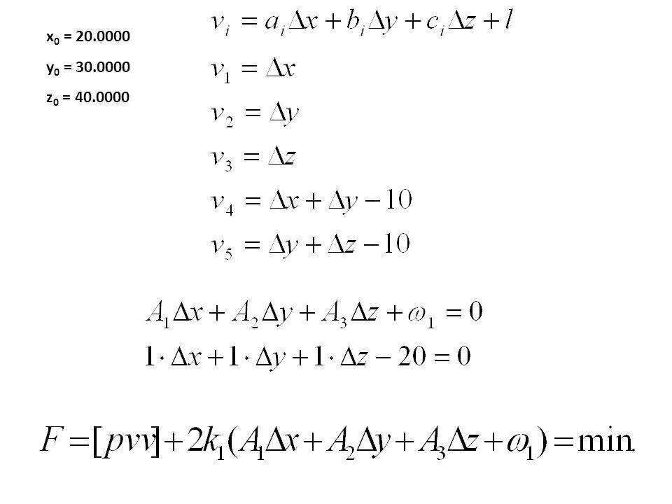 x0 = 20.0000 y0 = 30.0000 z0 = 40.0000