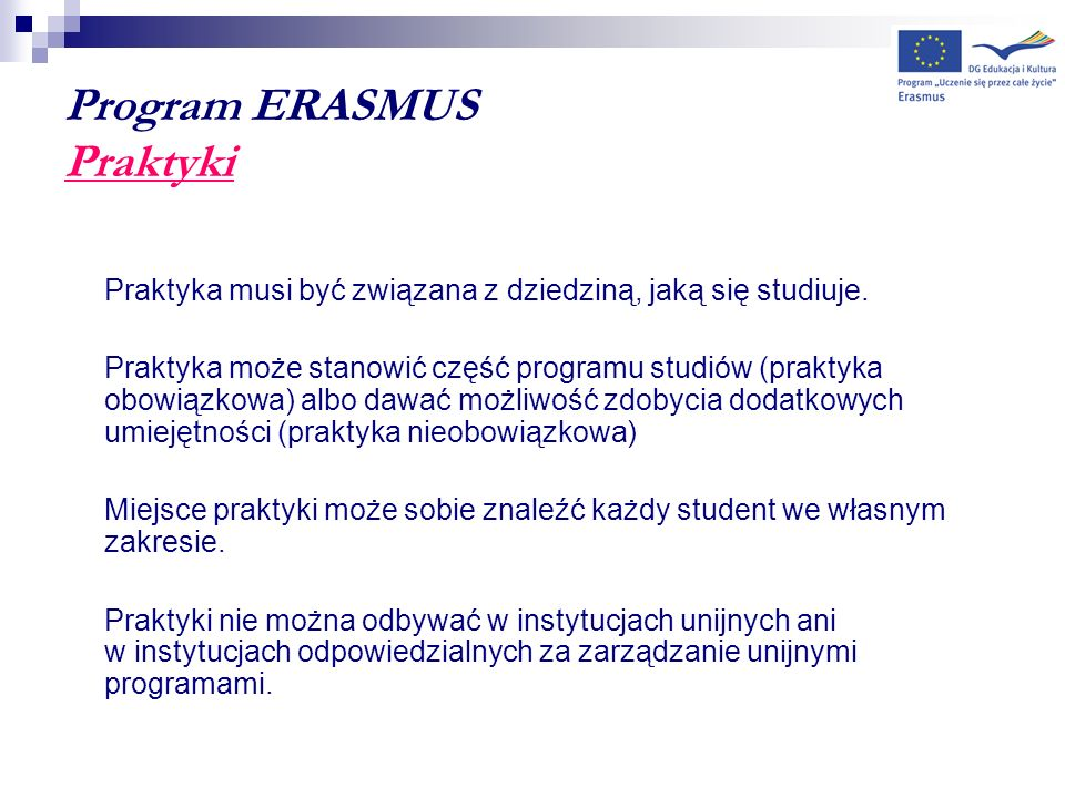 Program ERASMUS Praktyki