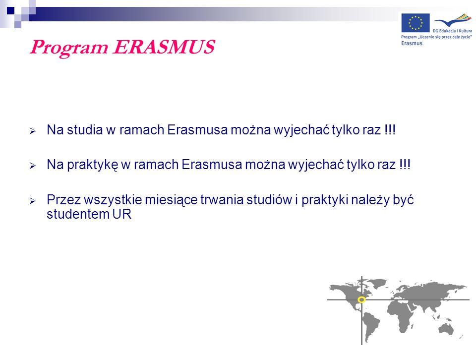 Program ERASMUS Na studia w ramach Erasmusa można wyjechać tylko raz !!! Na praktykę w ramach Erasmusa można wyjechać tylko raz !!!