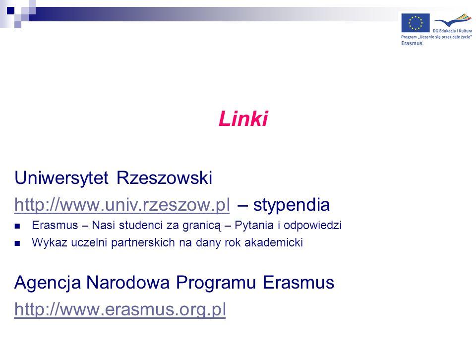 Linki Uniwersytet Rzeszowski http://www.univ.rzeszow.pl – stypendia