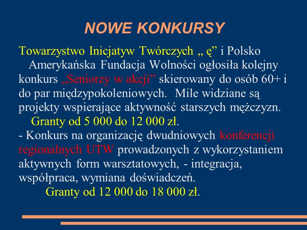 """NOWE KONKURSY Towarzystwo Inicjatyw Twórczych """" ę i Polsko Amerykańska Fundacja Wolności ogłosiła kolejny."""