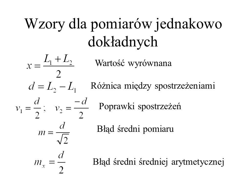 Wzory dla pomiarów jednakowo dokładnych