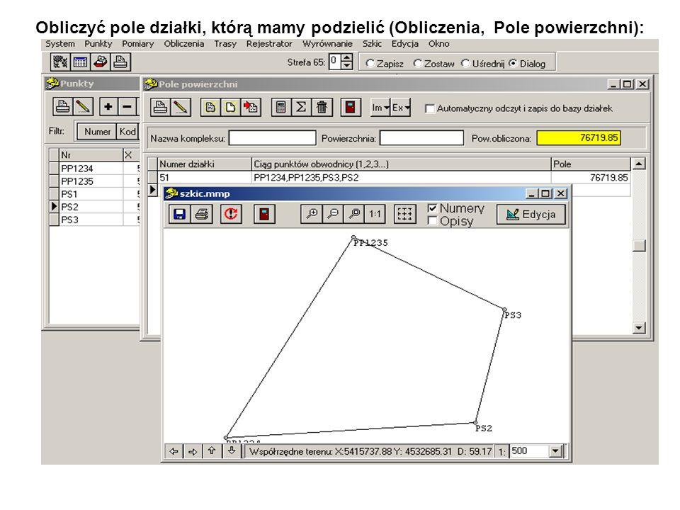 Obliczyć pole działki, którą mamy podzielić (Obliczenia, Pole powierzchni):