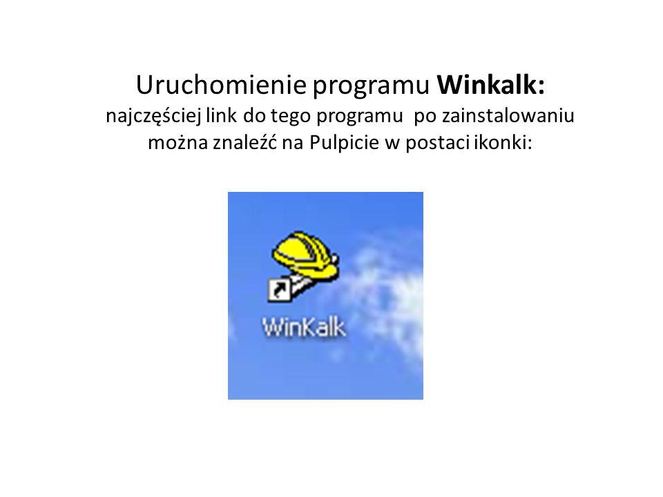 Uruchomienie programu Winkalk: