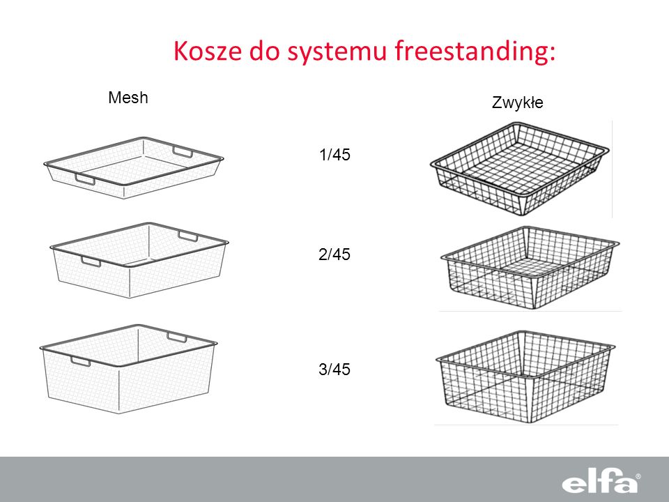 Kosze do systemu freestanding: